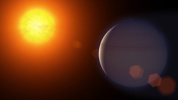 The atmosphere of exoplanet HD 189733b streams away at speeds of 300,000 mph, according to observations from NASA's Hubble Space Telescope.