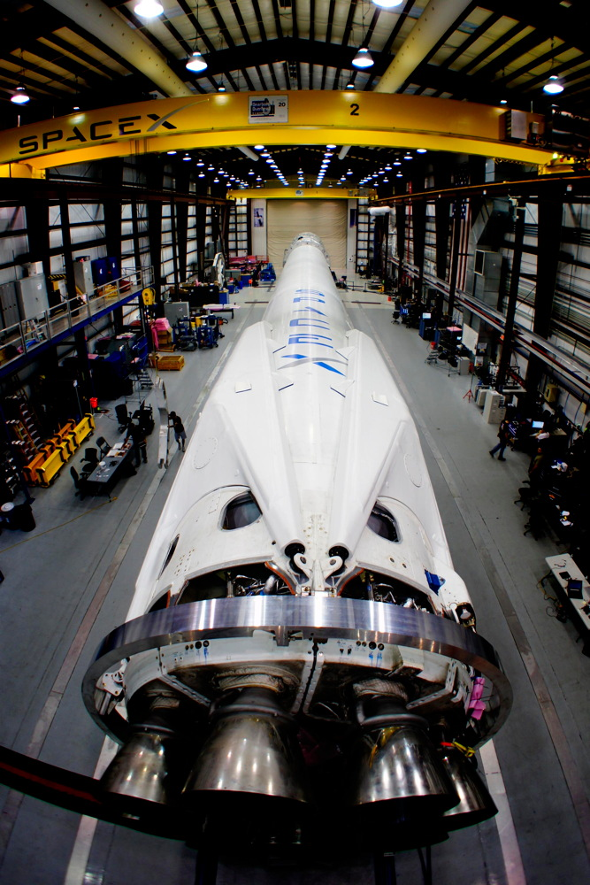 Falcon 9 in SpaceX's Hangar at Cape Canaveral
