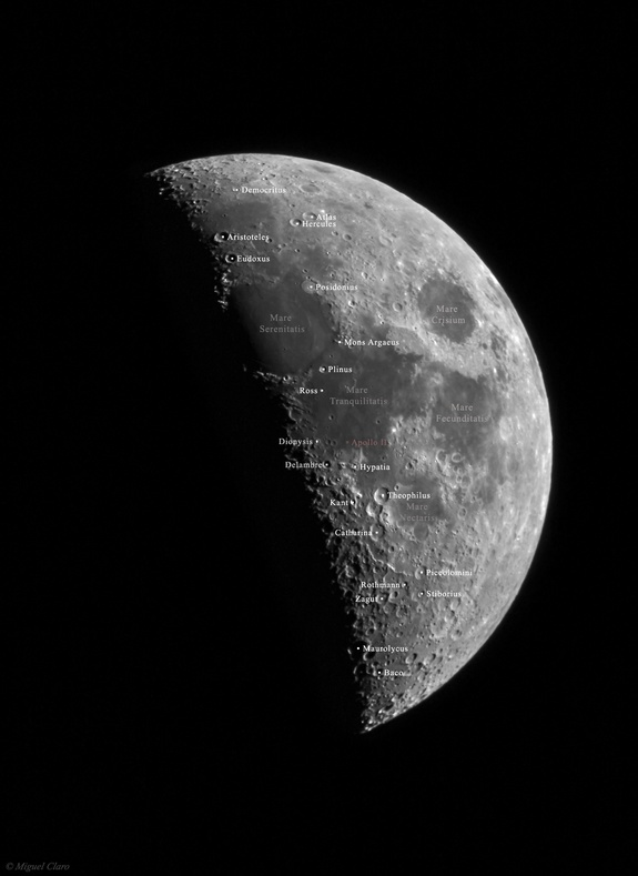 "This photo shows the moon one day before it reached ""first quarter,"" with the disc 44 percent illuminated by the sun. Miguel Claro of Lisbon, Portugal captured the image on March 7, 2014. In this annotated version, Claro changed the inverted position of the original photo caused by the mirrors in his Maksutov telescope."