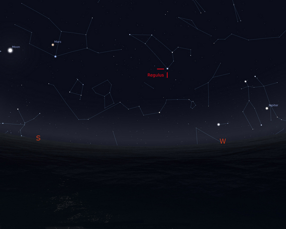 This Stellarium sky map shows the position of the star Regulus in the constellation Leo as it will appear in the southwestern sky, 90 degrees to the right of the moon, at 2 a.m. EDT on March 20, 2014. Regulus will appear roughly as high as the moon, and be the brightest star in the area.