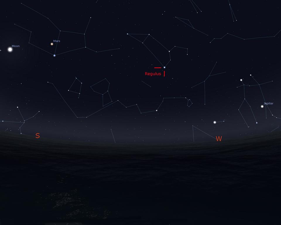 Stellarium Sky Map Showing Regulus