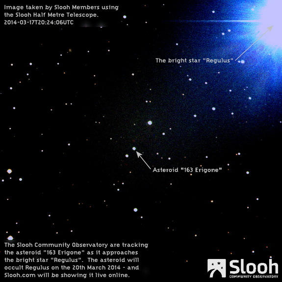 The asteroid 163 Erigone is seen near the bright star Regulus on March 17, 2014, just days ahead of a rare March 20 occultation of the star by the asteroid. This image was taken by the Slooh Half-Meter Telescope, a remotely operated telescope used by the Slooh online skywatching website.