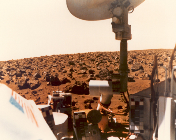 This color picture of the Martian horizon was taken by Viking 1 on July 24, 1976.