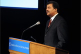 Astrophysicist Neil deGrasse Tyson, director of the Hayden Planetarium in New York City, hosts the Asimov Memorial Debate at the American Museum of Natural History.
