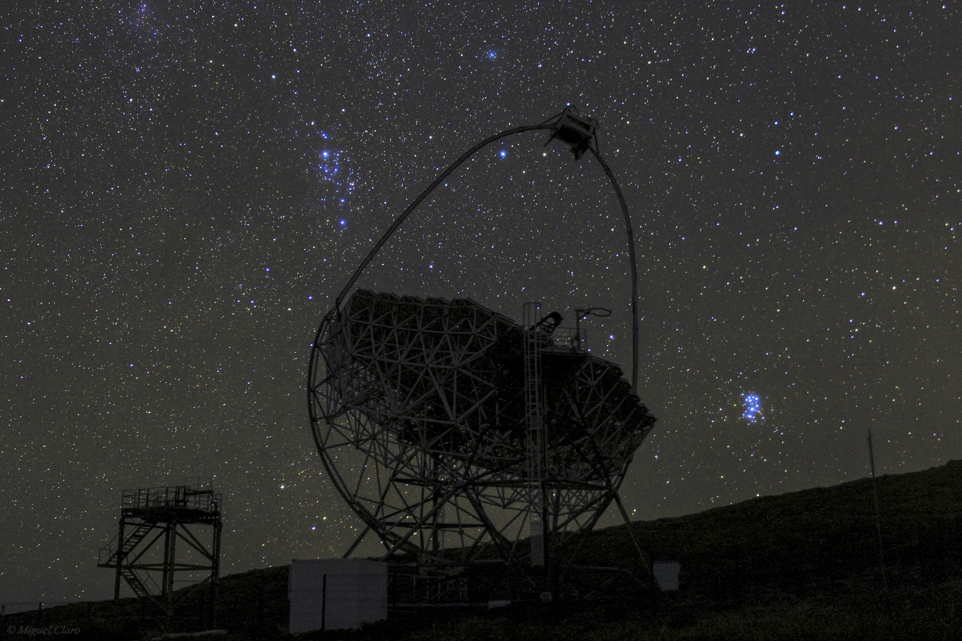 Pleiades Dazzles Over MAGIC Telescope by Miguel Claro