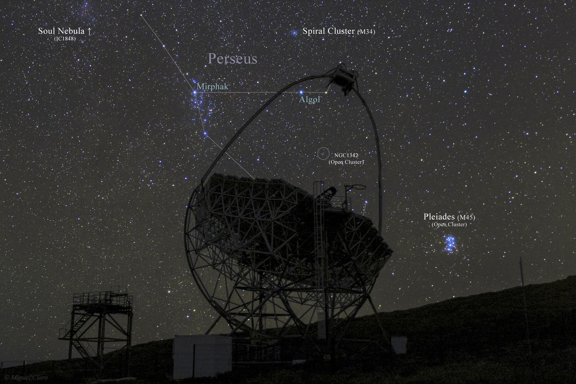 Pleiades Dazzles Over MAGIC Telescope (Annotated) by Miguel Claro