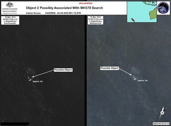 These satellite photos of objects in the Indian Ocean may be debris from the missing Malaysia Airlines flight MH370, which disappeared on March 8 during a scheduled flight to Beijing, China.