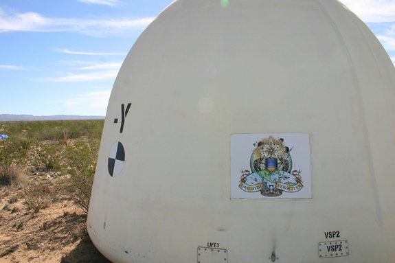 Blue Origin's Space Vehicle crew capsule following a successful test of its escape system in 2012.