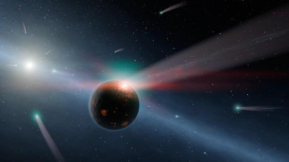 Comets rain down on a young, rocky world in this artist's impression of the Late Heavy Bombardment, a theorized period of intense impact activity on Earth approximately four billion years ago.