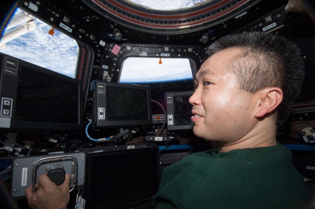 Wakata in ISS Cupola