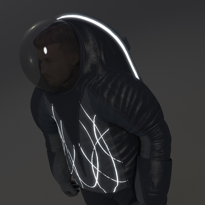 'Biomimicry' Spacesuit Upper Torso in Darkness