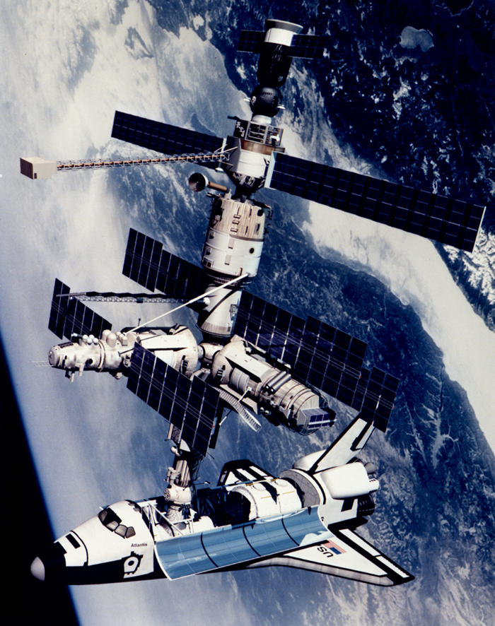 Space History Photo: Technical Rendition of STS-71 Docked to Mir