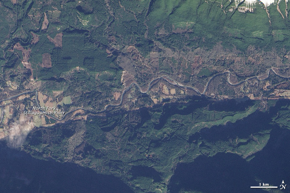 This satellite image shows the area near Oso, Wash., on Jan. 18, 2014, two months before the landslide.