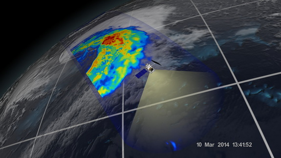An extra-tropical cyclone seen off the coast of Japan, March 10, 2014, by the GPM Microwave Imager. The colors show the rain rate: red areas indicate heavy rainfall, while yellow and blue indicate less intense rainfall. The upper left blue areas indicate falling snow.