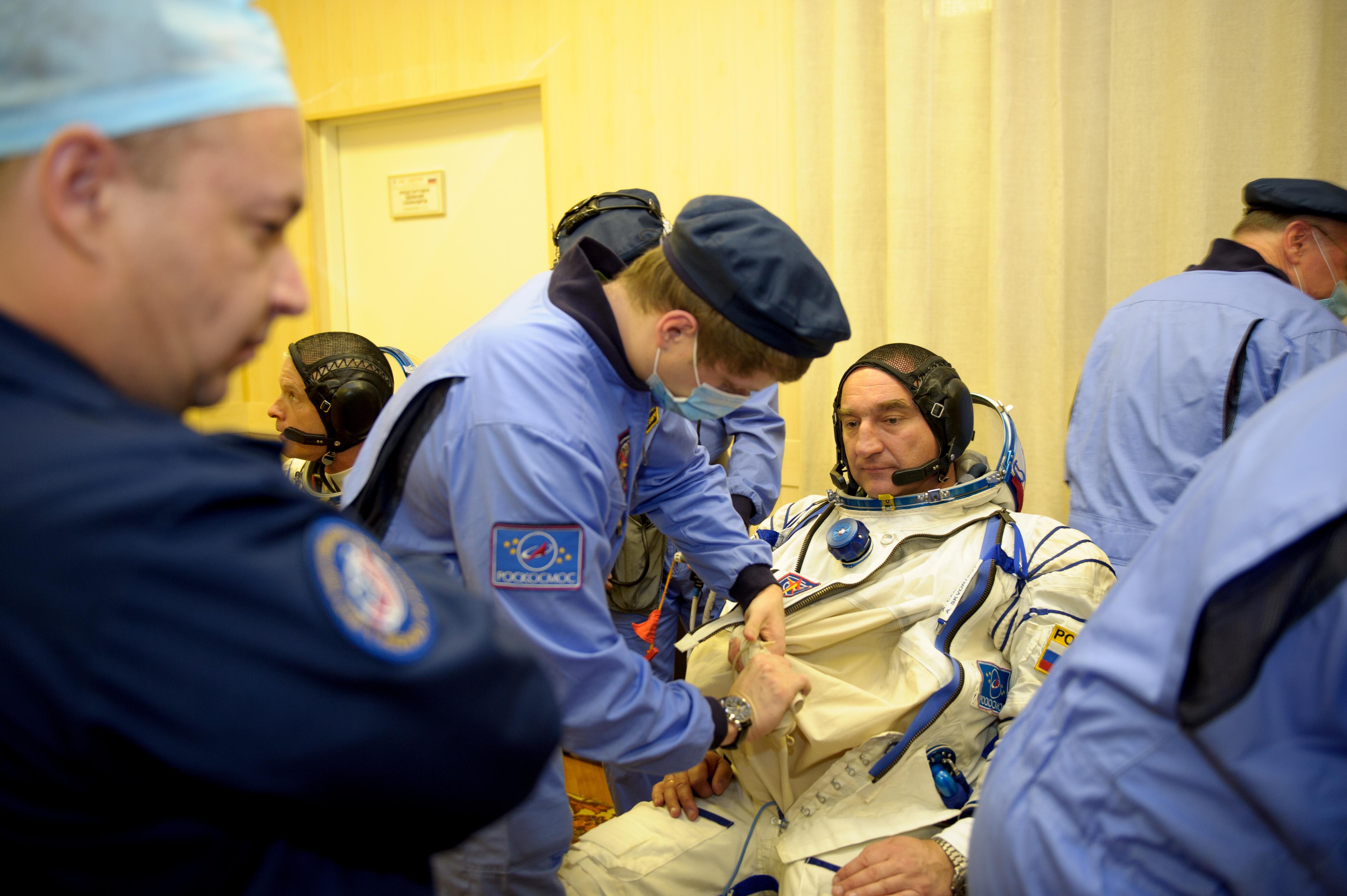 Soyuz Commander Russian Sokol Suit Prep