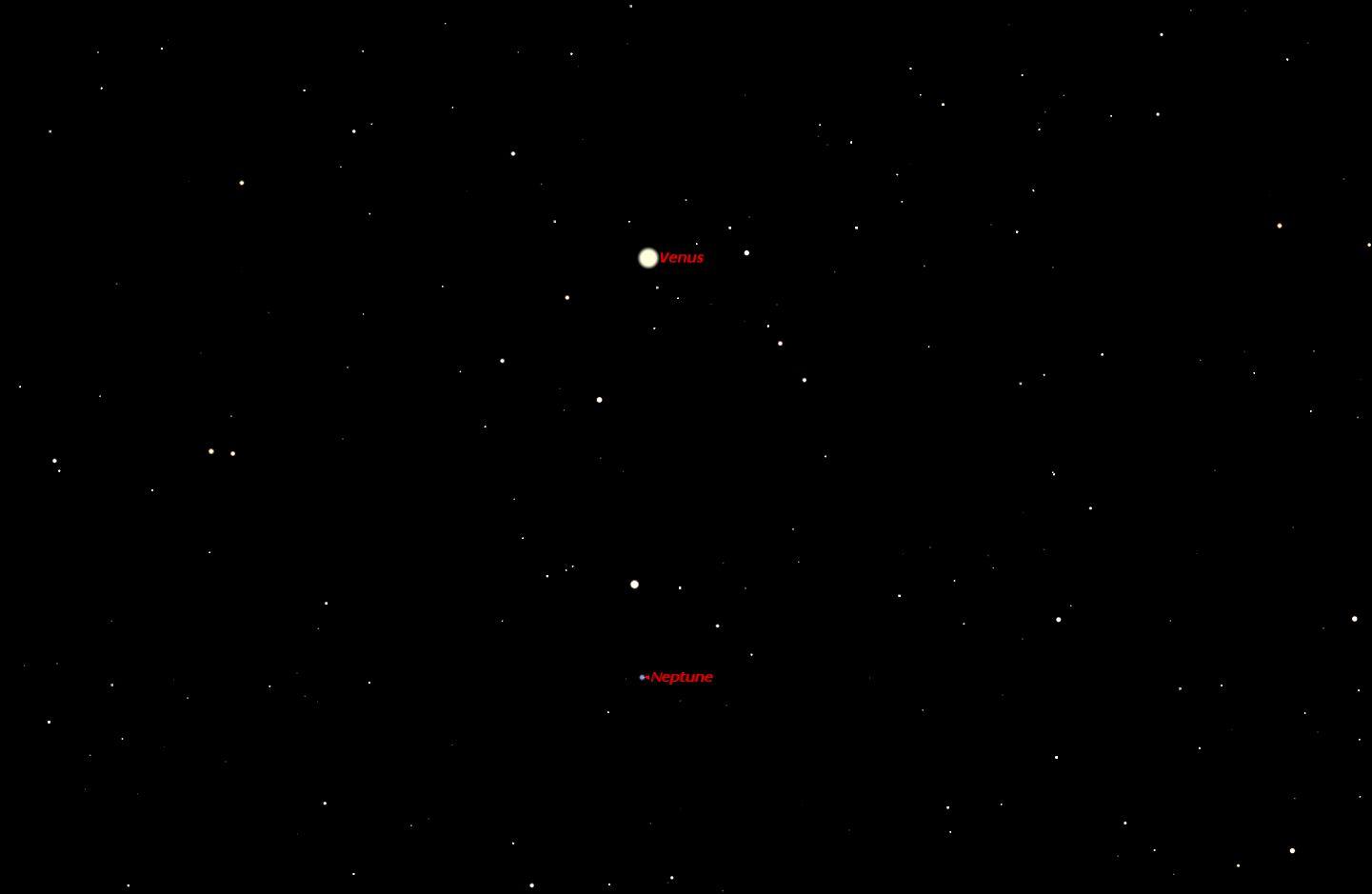 Venus and Neptune, April 2014