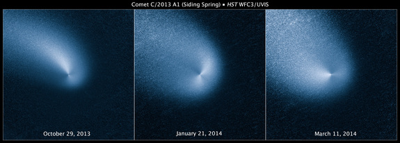 This is a series of Hubble Space Telescope pictures of comet C/2013 A1 Siding Spring as observed on Oct. 29, 2013; Jan. 21, 2014; and March 11, 2014. When processed, the images reveal two dust jets erupting from the comet's nucleus in opposite directions.