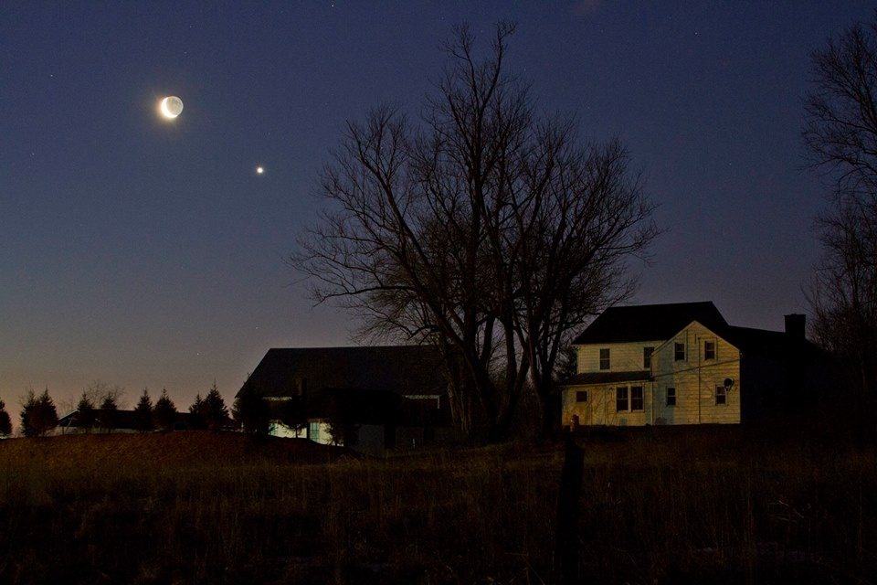 Crescent Moon and Venus Over Slingerlands, NY