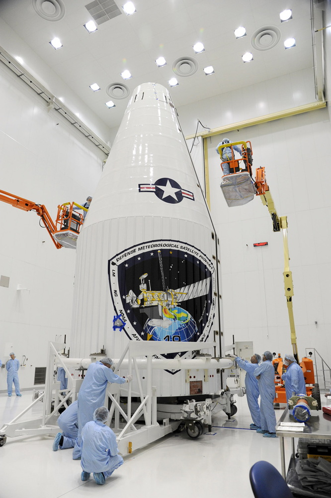 DMSP-19 Satellite Encased in Payload Fairing