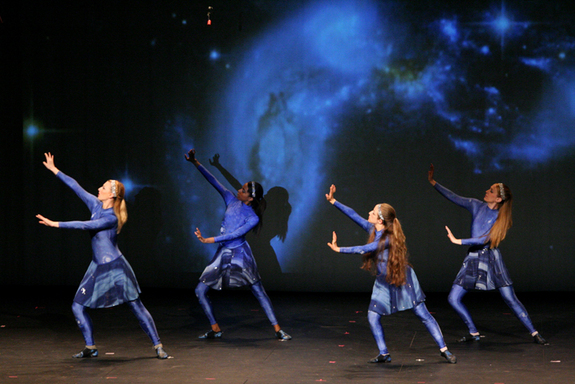 The AstroDance dancers' movements represent the birth and evolution of the universe. This relates to recent discoveries that are bringing society closer to understanding what happened soon after the Big Bang.