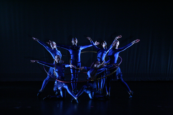 Using hoops, AstroDance dancers present an abstract representation of Black Holes merging.