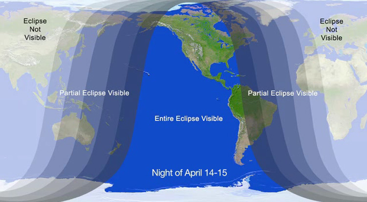 Total Lunar Eclipse Visibility Area: April 2014