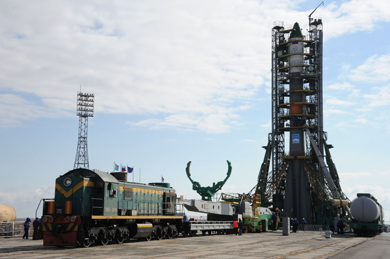 Soyuz Launch Vehicle Rollout with Train