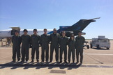 The UCSD team suits up for flight week. From left to right: Joshua Siu, Jose Garcia, Henry Lu, Sam Avery, Semaan Farah, Andrew Beeler, Greta Sharoyan and Victor Hong