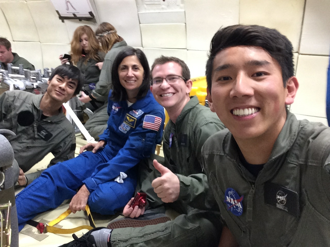 Astronaut Stott and Students Aboard Zero-Gravity Flight