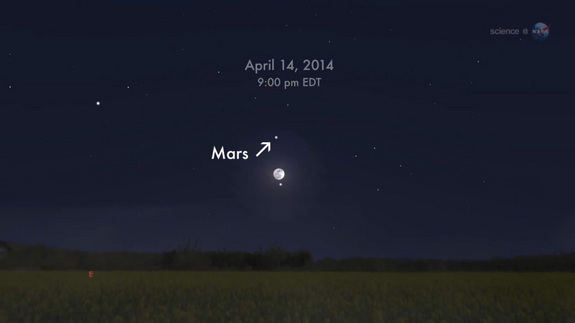 This sky map shows the location of Mars and the moon in the southeastern night sky on April 14, 2014 when Mars is at its closest to Earth.