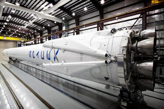 A close-up look at the landing legs on a private SpaceX Falcon 9 rocket launching from Cape Canaveral Air Force Station, Fla., on April 14, 2014. The Falcon 9 rocket will launch a Dragon cargo ship to the International Space Station, then attempt to return its first stage to Earth in a reusable rocket technology demonstration.