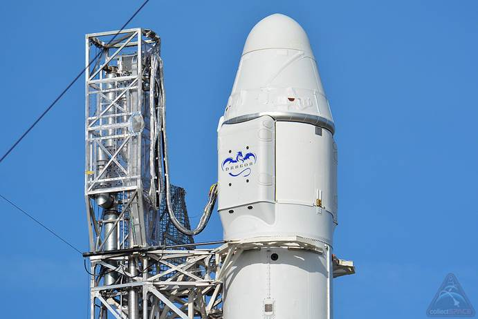 Dragon Cargo Capsule on Falcon 9 Rocket