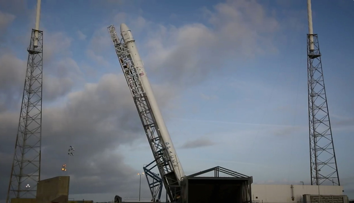 SpaceX Falcon 9 Rocket Raising to Vertical