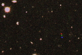 The discovery images of 2012 VP113 combined into one frame. The red, green and blue dots show its path across the sky.