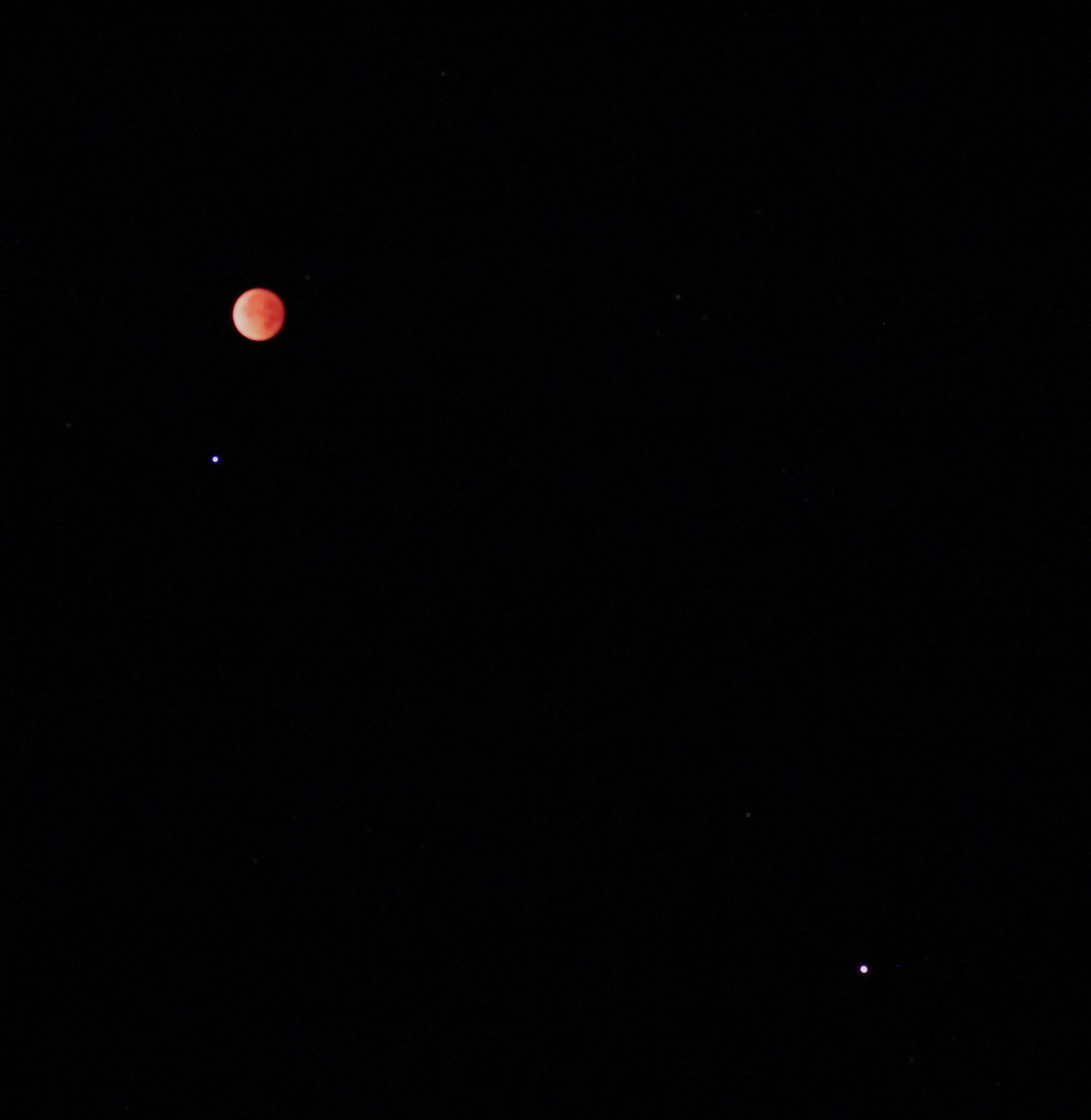Total Lunar Eclipse, Mars and Spica by Victor Rogus
