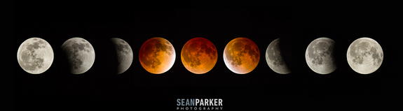 "Photographer Sean Parker of Tucson, Ariz., created this mosaic of the total lunar eclipse phases on April 15, 2014 using images taken with a through a 12"" LX Meade 200 telescope with a Canon 6D camera."