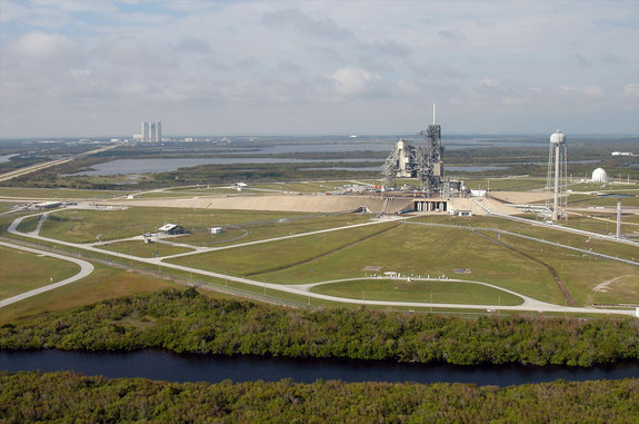 Aerial view of Launch Pad 39A at NASA's Kennedy Space Center in Florida. NASA has leased to SpaceX use of the historic pad to launch the company's rockets over the next 20 years.