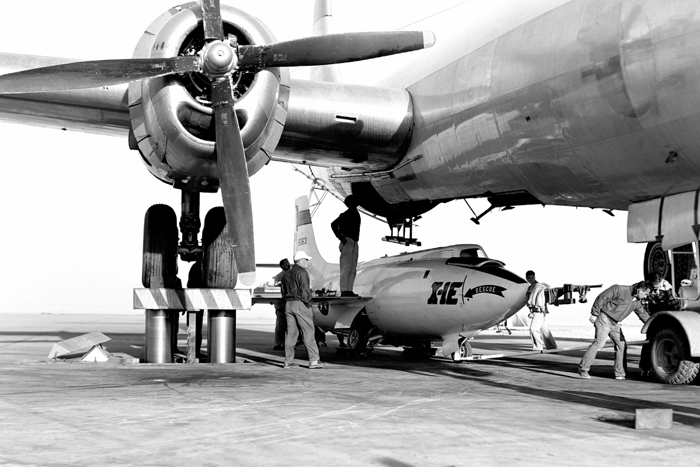 Space History Photo: X-1E Loaded in B-29 Mothership on Ramp
