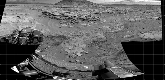 "NASA's Curiosity Mars rover used its Navigation Camera (Navcam) to record this scene of a butte called ""Mount Remarkable"" and surrounding outcrops at a waypoint called ""the Kimberley"" inside Gale Crater. The butte stands about 16 feet (5 meters) high. Image added April 16, 2014."