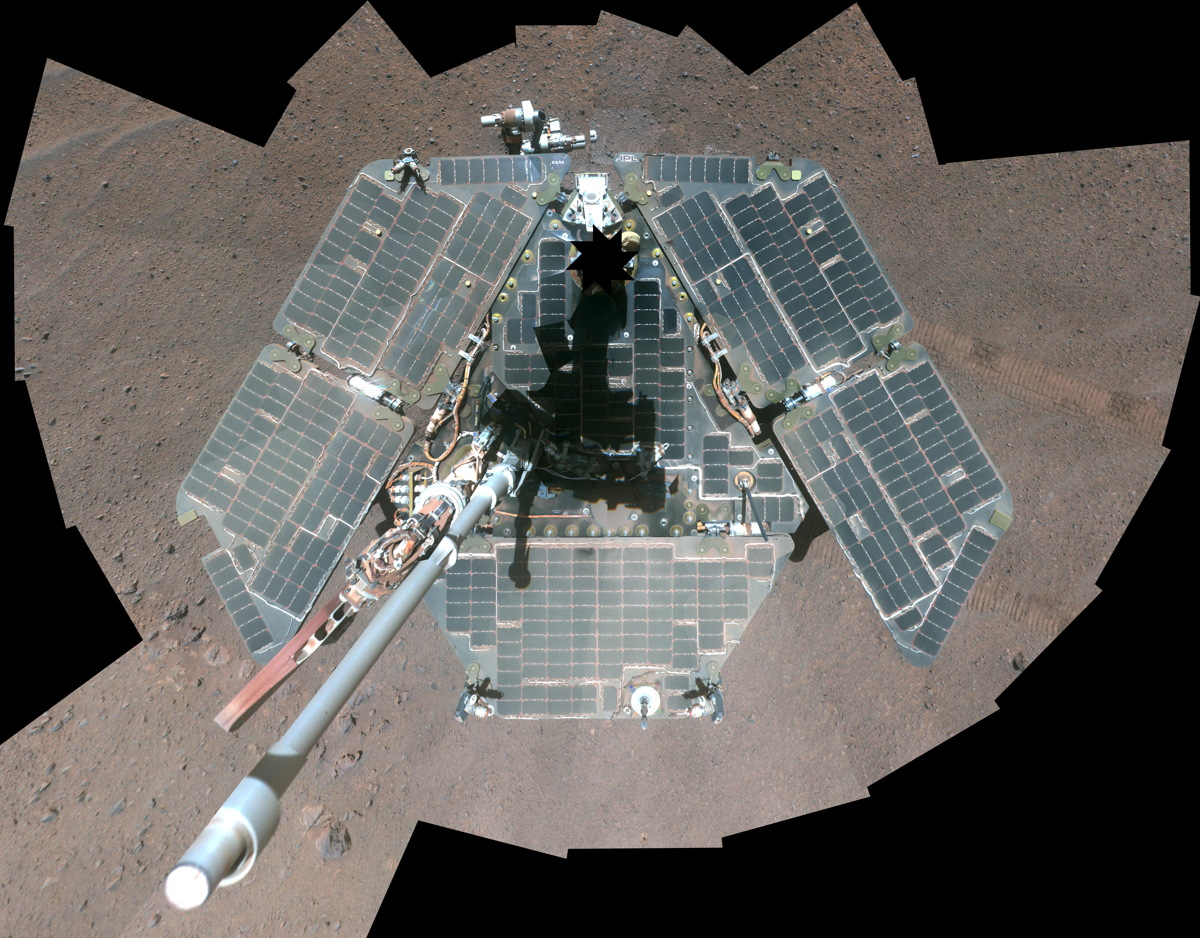 Self-Portrait by Freshly Cleaned Opportunity Mars Rover, False Color