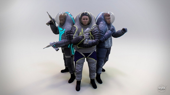The three proposed designs for NASA's Z-2 spacesuits appear in a lighted environment.