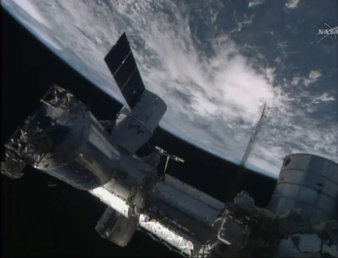 SpaceX-3 Dragon Attached to Space Station