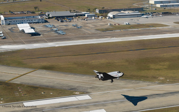 Conceptual image of Sierra Nevada Corp.'s (SNC) Dream Chaser spacecraft landing on the runway at Houston's Ellington Field, which the Houston Airport System wants to turn into a spaceport.