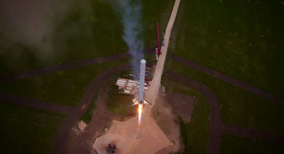 SpaceX's Falcon 9 Reusable rocket prototype consists of the first stage of the firm's two-stage Falcon 9 rocket that is equipped with landing legs. Here, an aerial drone still image shows the F9R rocket ascending on its first launch/landing test in McGregor, Texas as seen in a SpaceX video released on April 18, 2014.