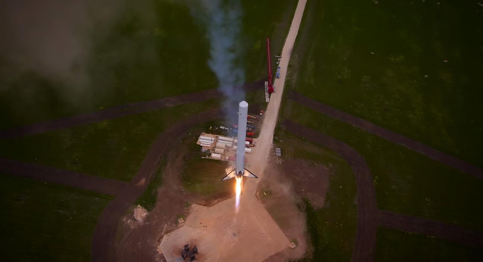 SpaceX F9R Reusable Rocket Descends