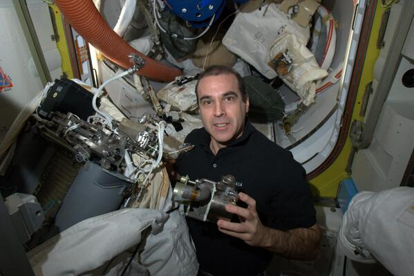 Mastracchio with Pump on International Space Station