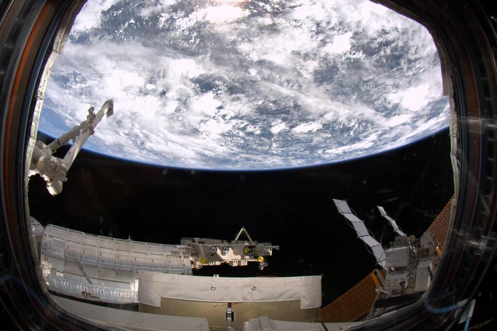 Earth Seen Through the International Space Station's Cupola