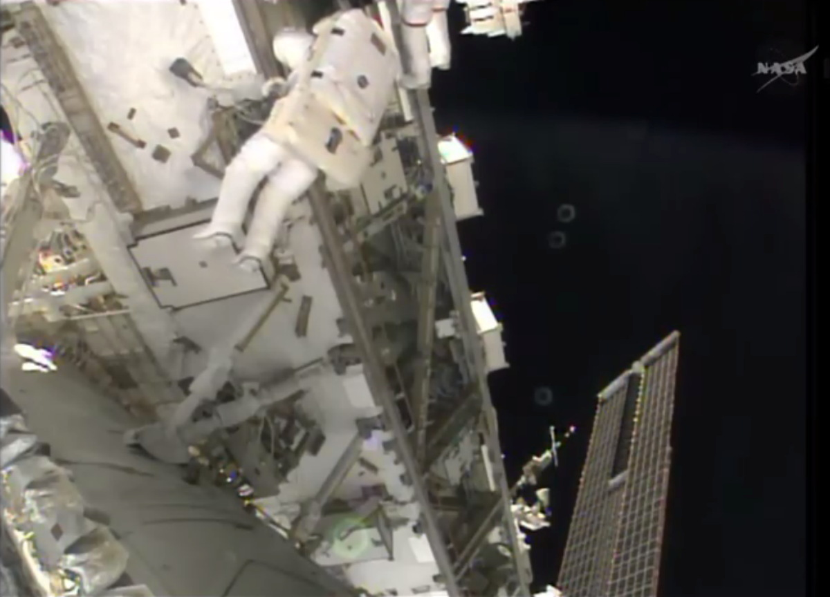 Spacewalk Outside ISS April 23, 2014
