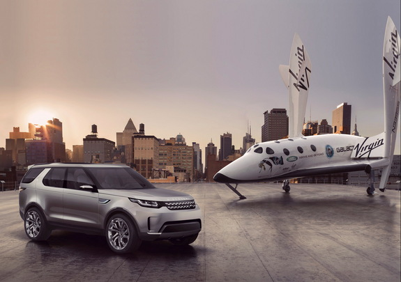 Global reveal of Land Rover's new Discovery Vision Concept car alongside Virgin Galactic's SpaceShipTwo, the world's first commercial spaceship.
