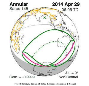 "This NASA chart shows the shadow path of the ""ring of fire"" annular solar eclipse of April 28-29, 2014."